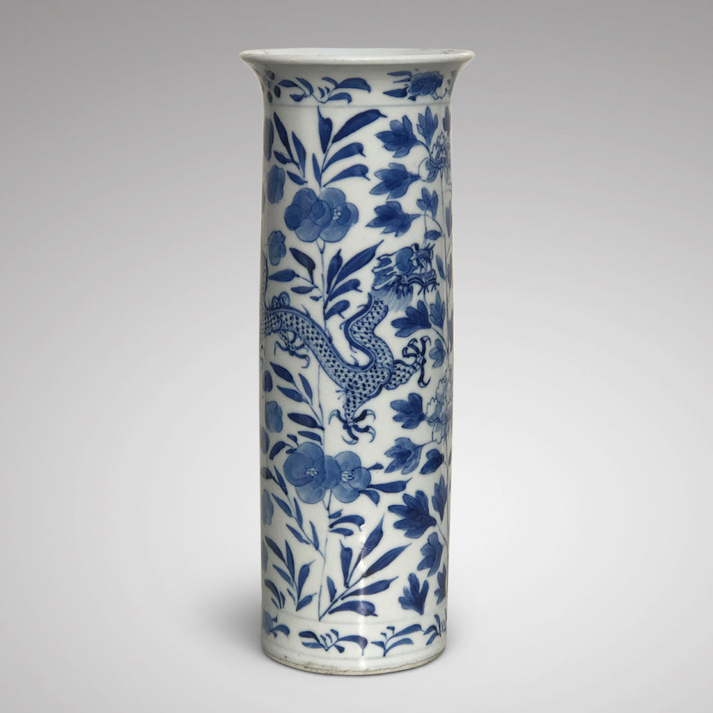19th Century Chinese Dragon & Peony Sleeve Vase - Main View - 1