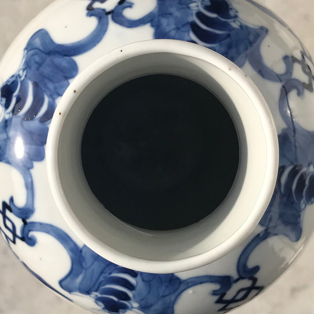 19th Century Chinese Blue & White Baluster Vase & Cover - Detail View - 6