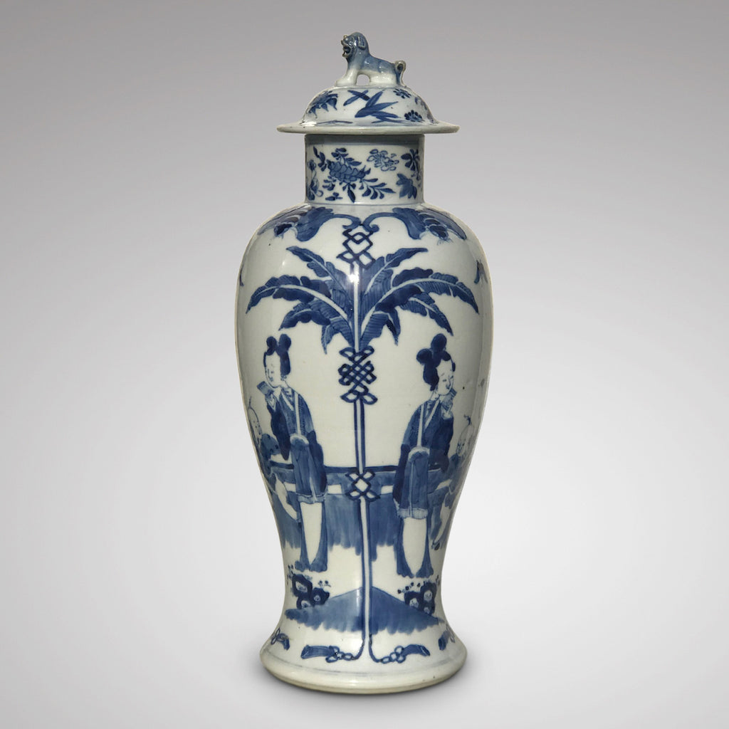 19th Century Chinese Blue & White Baluster Vase & Cover - Main View - 1