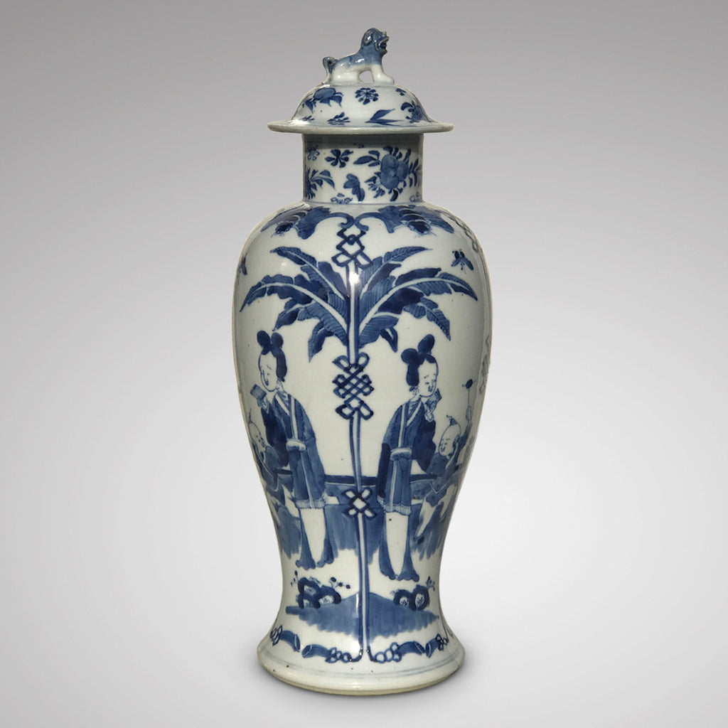 19th Century Chinese Blue & White Baluster Vase & Cover - Main View - 2