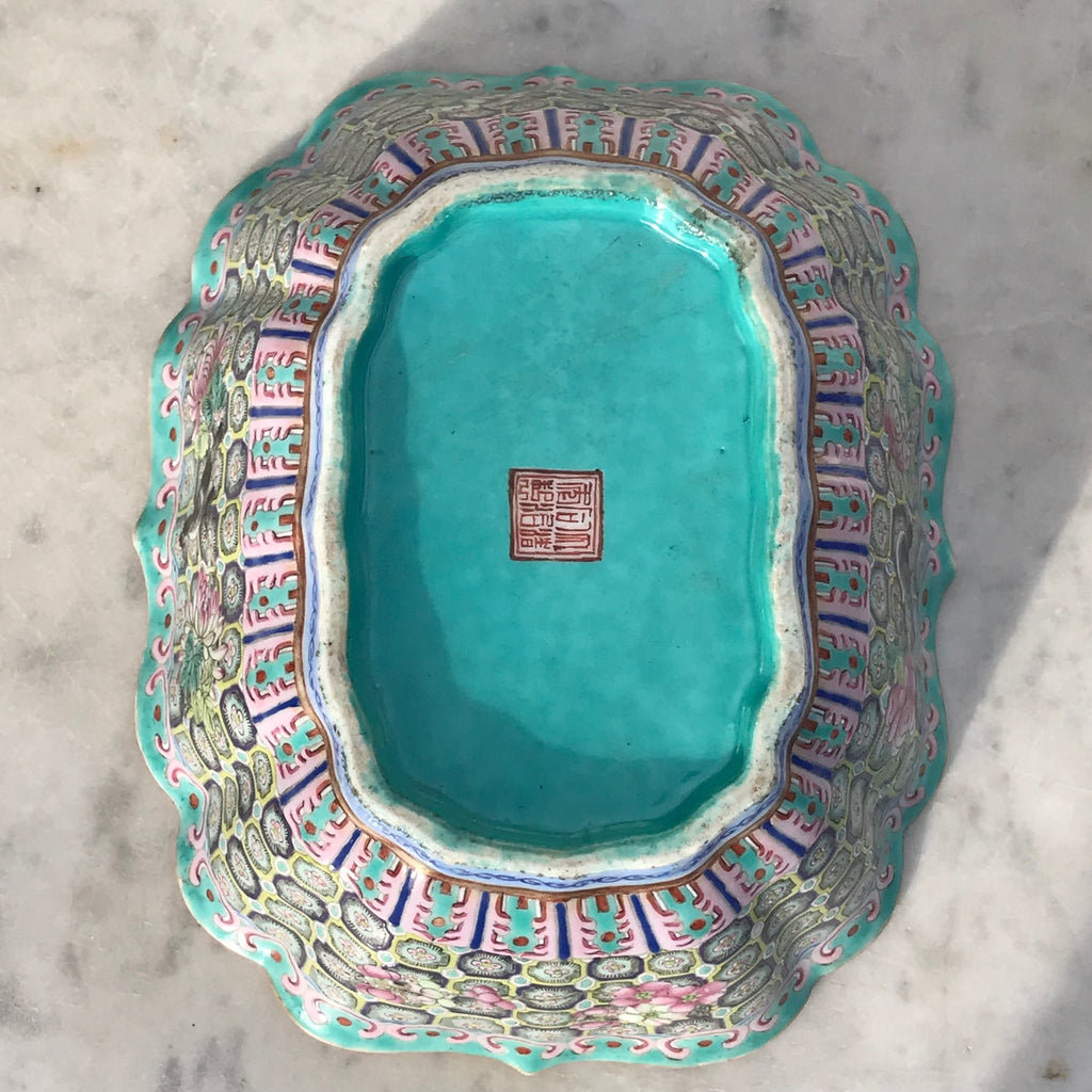Qing Dynasty Chinese Lobed Rectangular Bowl - Underside View - 3