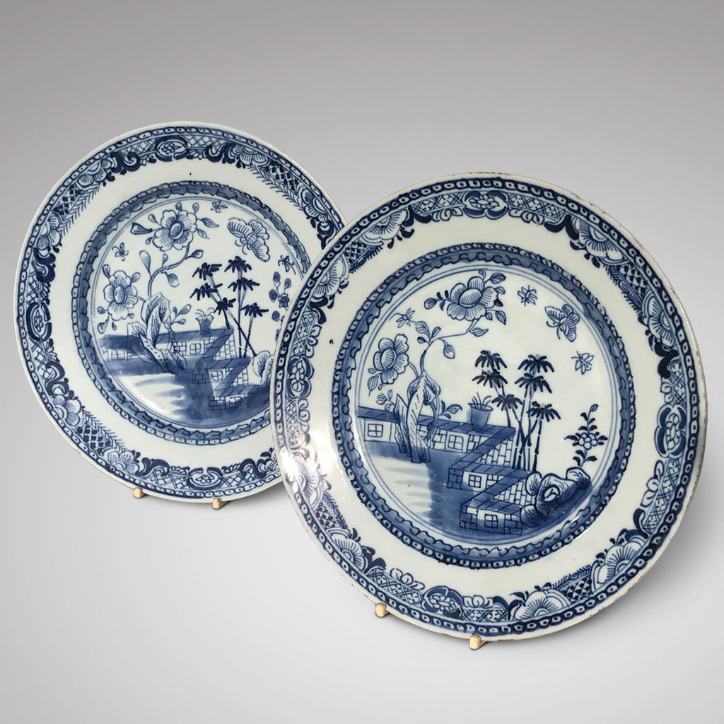 Pair of 18th Century Chinese Blue & White Plates - Main View - 1