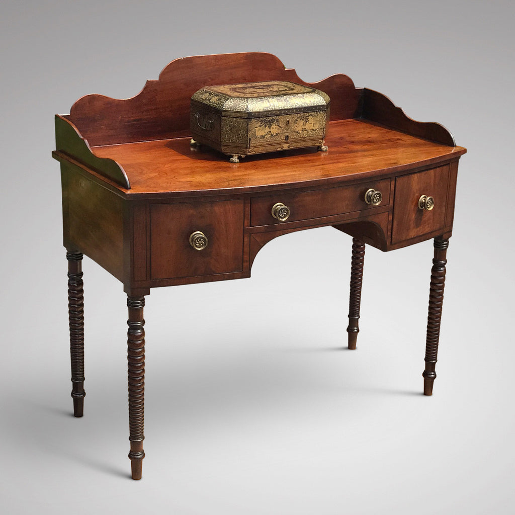Regency Mahogany Bow Front Dressing Table/Side Table - Front & Side View - 1