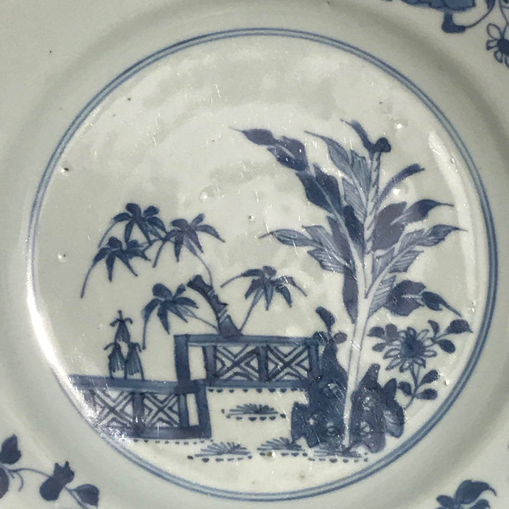 Pair of 18th Century Blue & White Plates - Detail View - 3