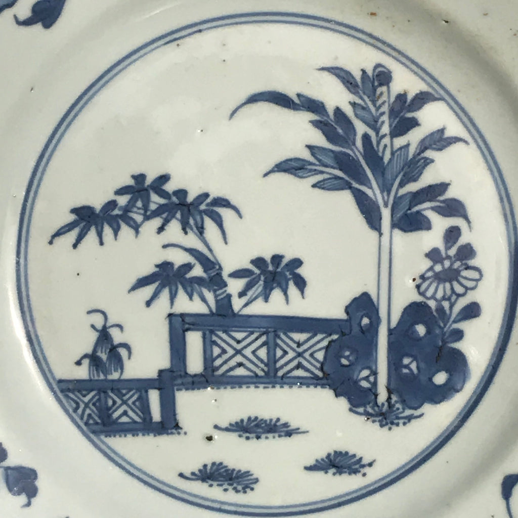 Pair of 18th Century Blue & White Plates - Detail View - 4