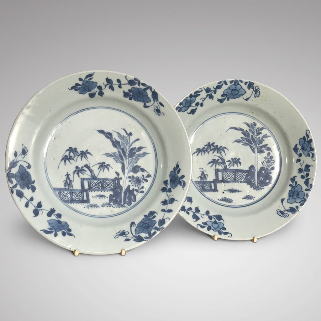 Pair of 18th Century Blue & White Plates - Main View - 1