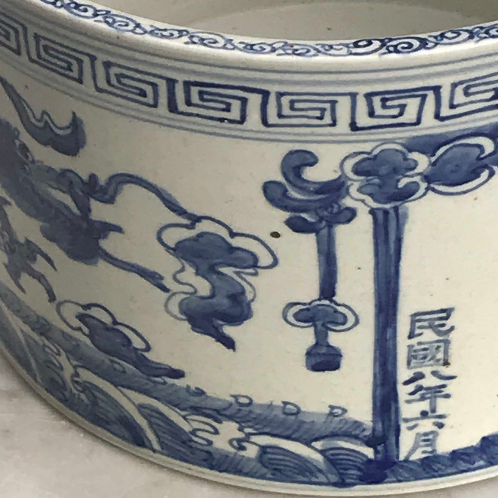 Chinese Blue and White Dragon Jardiniere - Detail View - 3