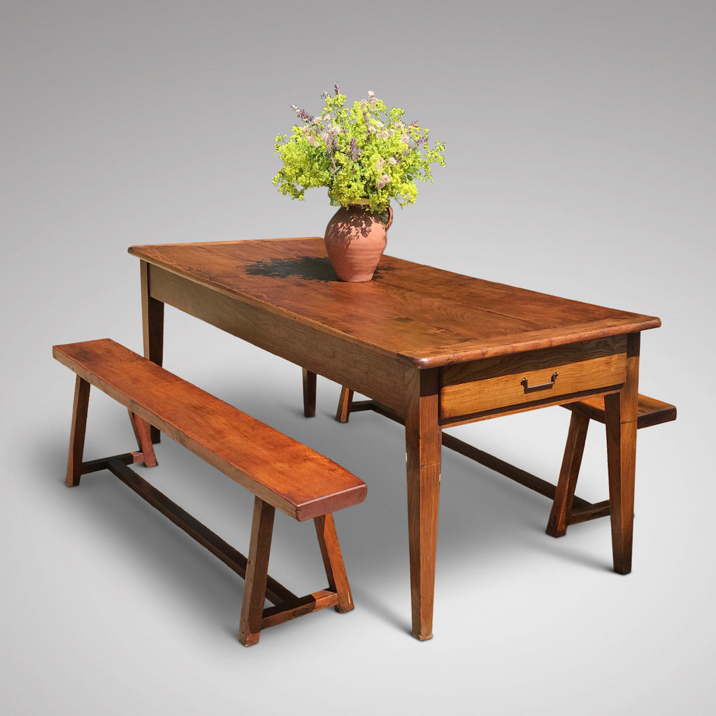 Pair of 19th Century Elm Benches - View with Table - 3