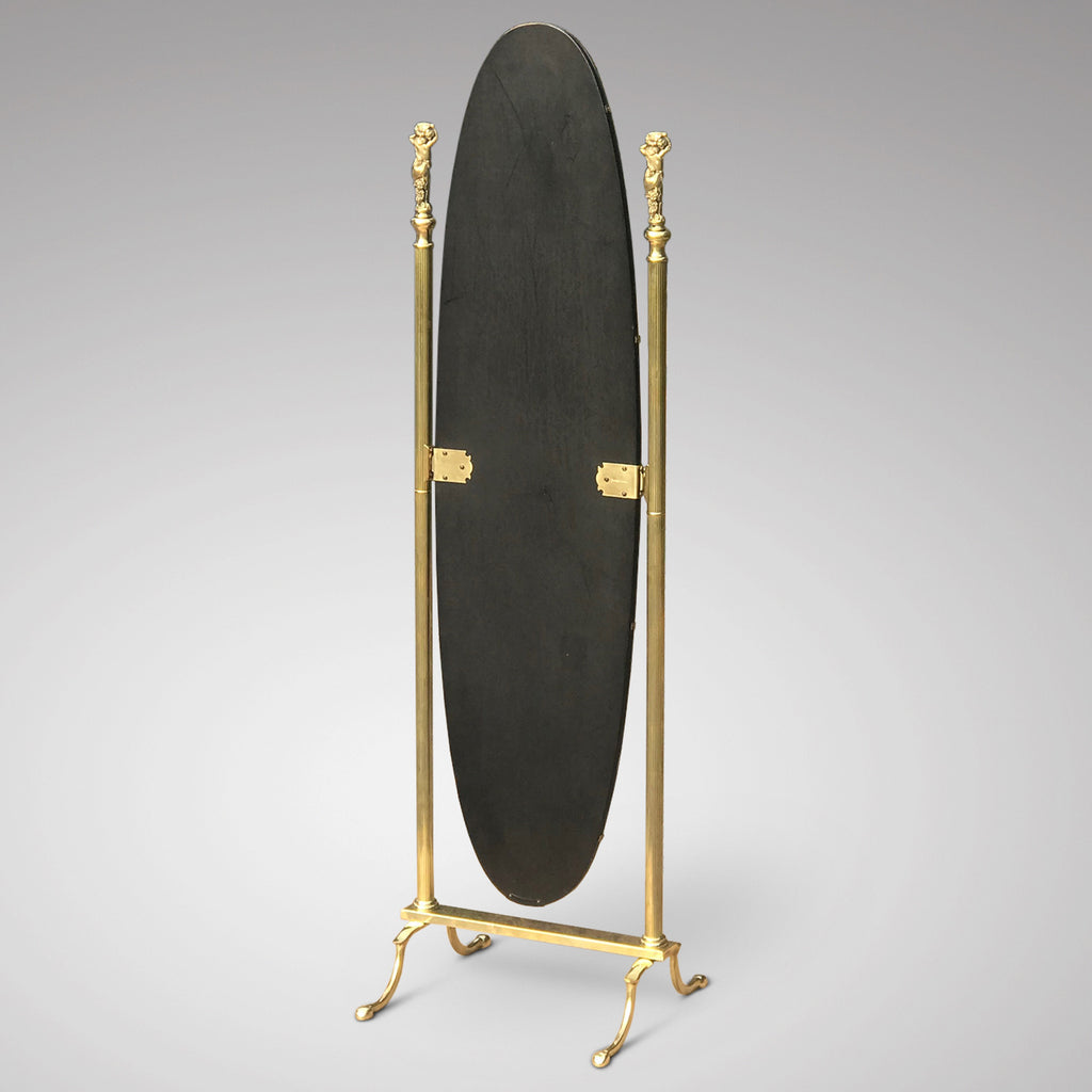 Mid Century Oval Brass Cheval Mirror - Back View - 3