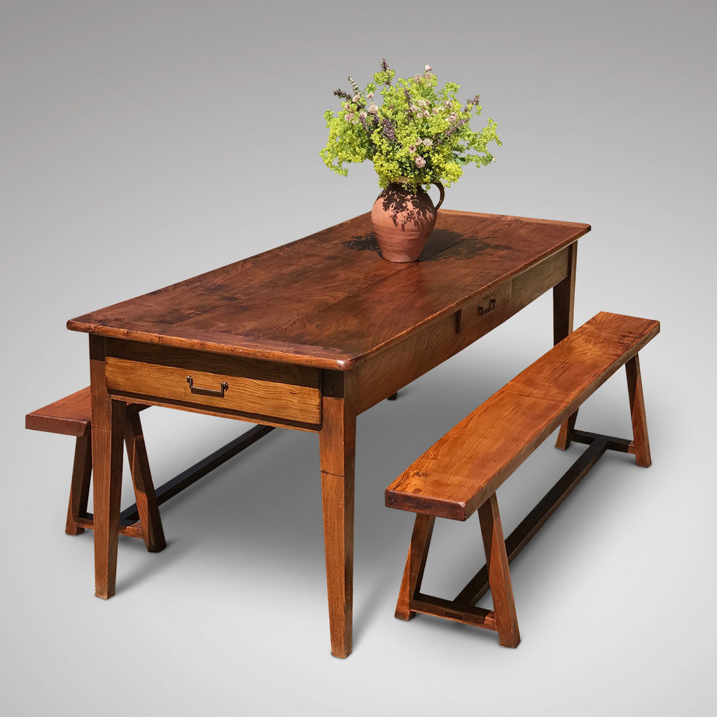 Pair of 19th Century Elm Benches - View with Table - 4