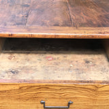 19th Century Elm Dining Table - View of Open Drawer - 5