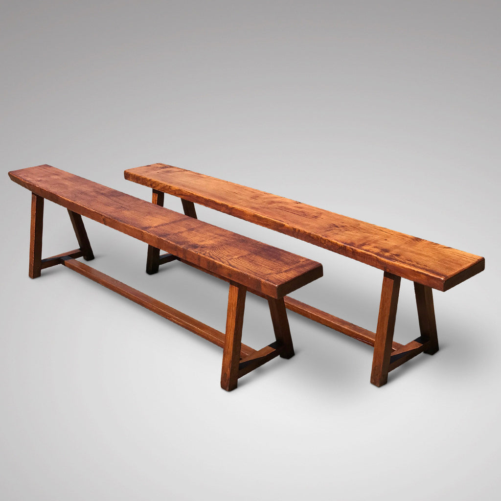 Pair of 19th Century Elm Benches - Front & Side View - 2