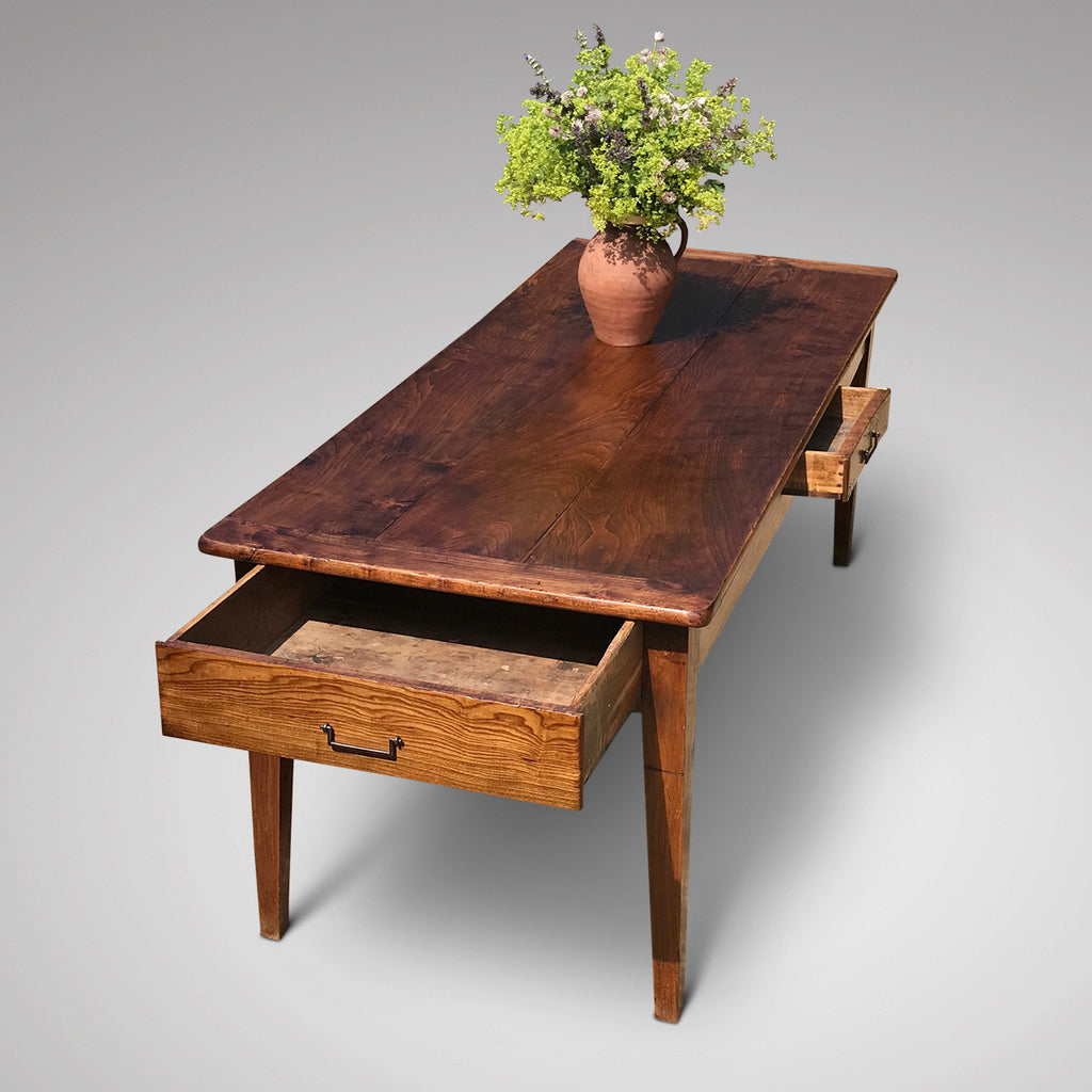 19th Century Elm Dining Table - End View with Drawers Open - 4