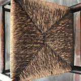 Pair of 18th Century Elm & Ash Country Chairs - Detail View of Rush Seat - 6