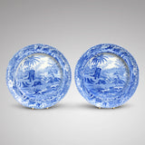 Pair of Blue & White Spode Plates 'Death of the Bear'