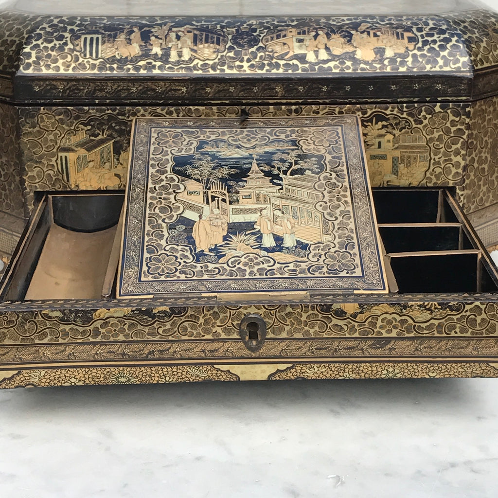 19th Century Chinoiserie Lacquered Sewing Chest - Inside Drawer Detail - 4