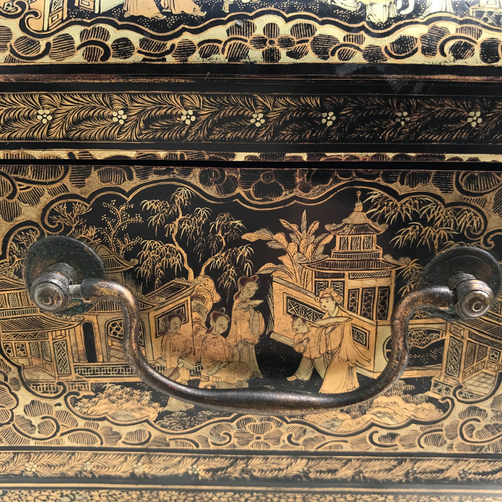 19th Century Chinoiserie Lacquered Sewing Chest - Side Handle Detail - 8