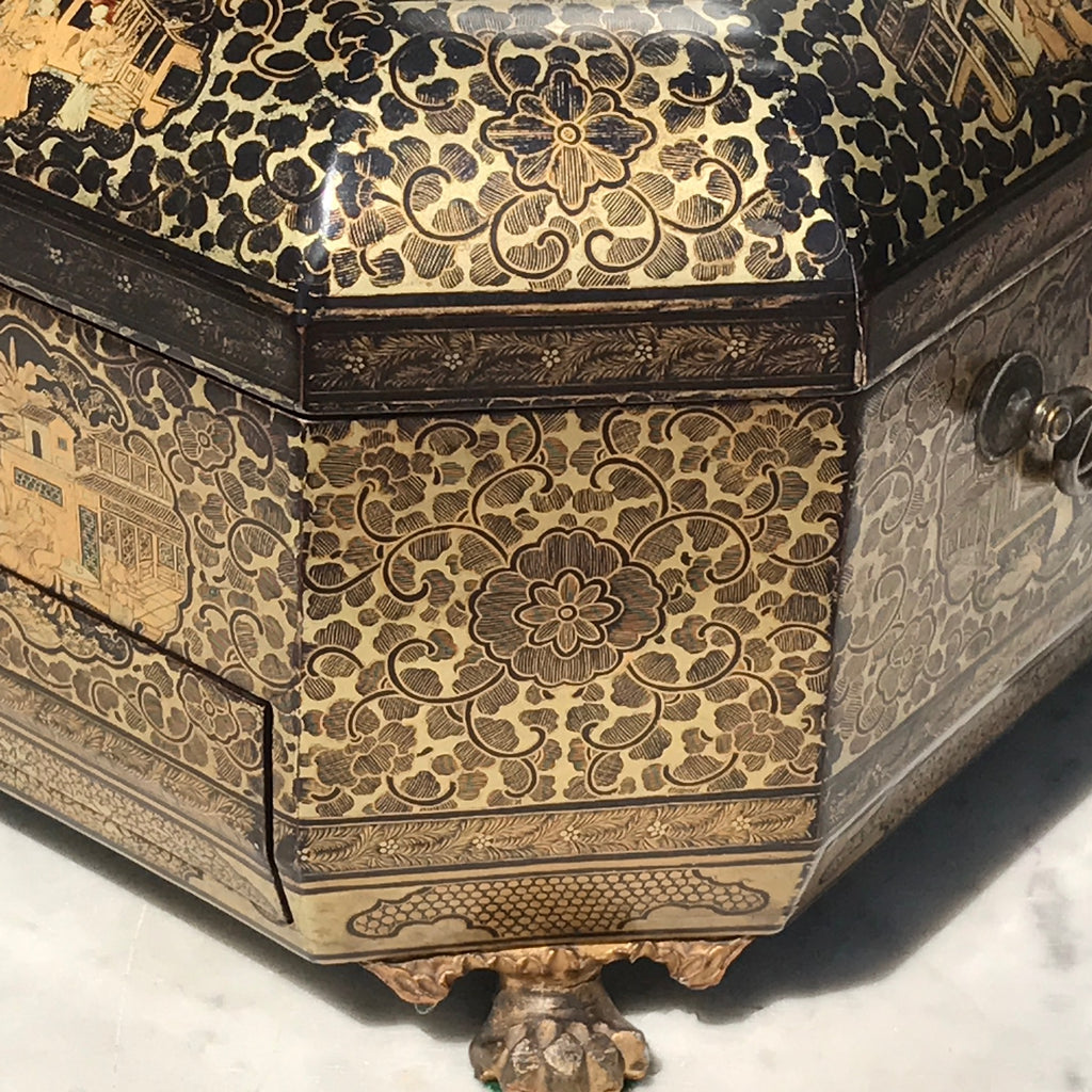 19th Century Chinoiserie Lacquered Sewing Chest - Corner Detail View - 11