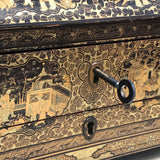 19th Century Chinoiserie Lacquered Sewing Chest - Lock Detail - 15