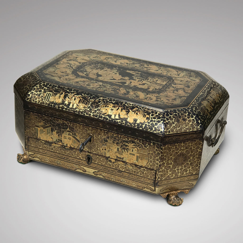 19th Century Chinoiserie Lacquered Sewing Chest - Front & Top View - 2