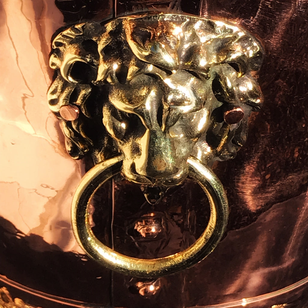19th Century Copper Jardiniere with Lion Mask Handles - Detail View - 6
