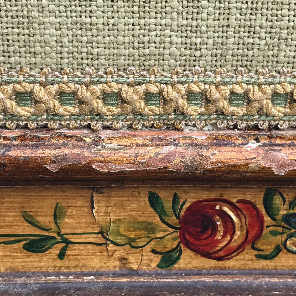 19th Century Stool in Original Paint - Fabric & Trim Detail - 4