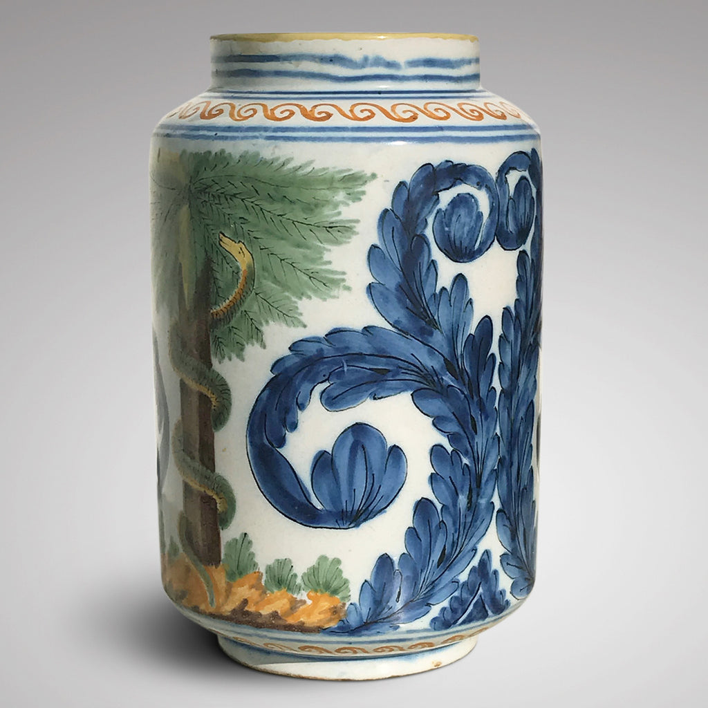 18th Century Italian Tin Glazed Dry Drug Jar - Main View - 2