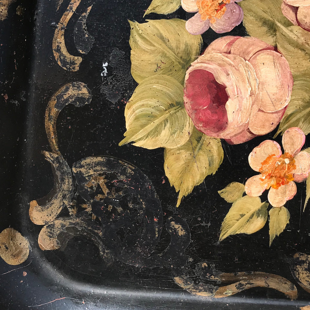 19th Century Rose Painted Toleware Tray - Detail View - 4