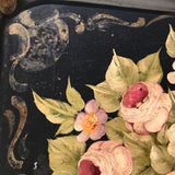 19th Century Rose Painted Toleware Tray - Detail View - 6