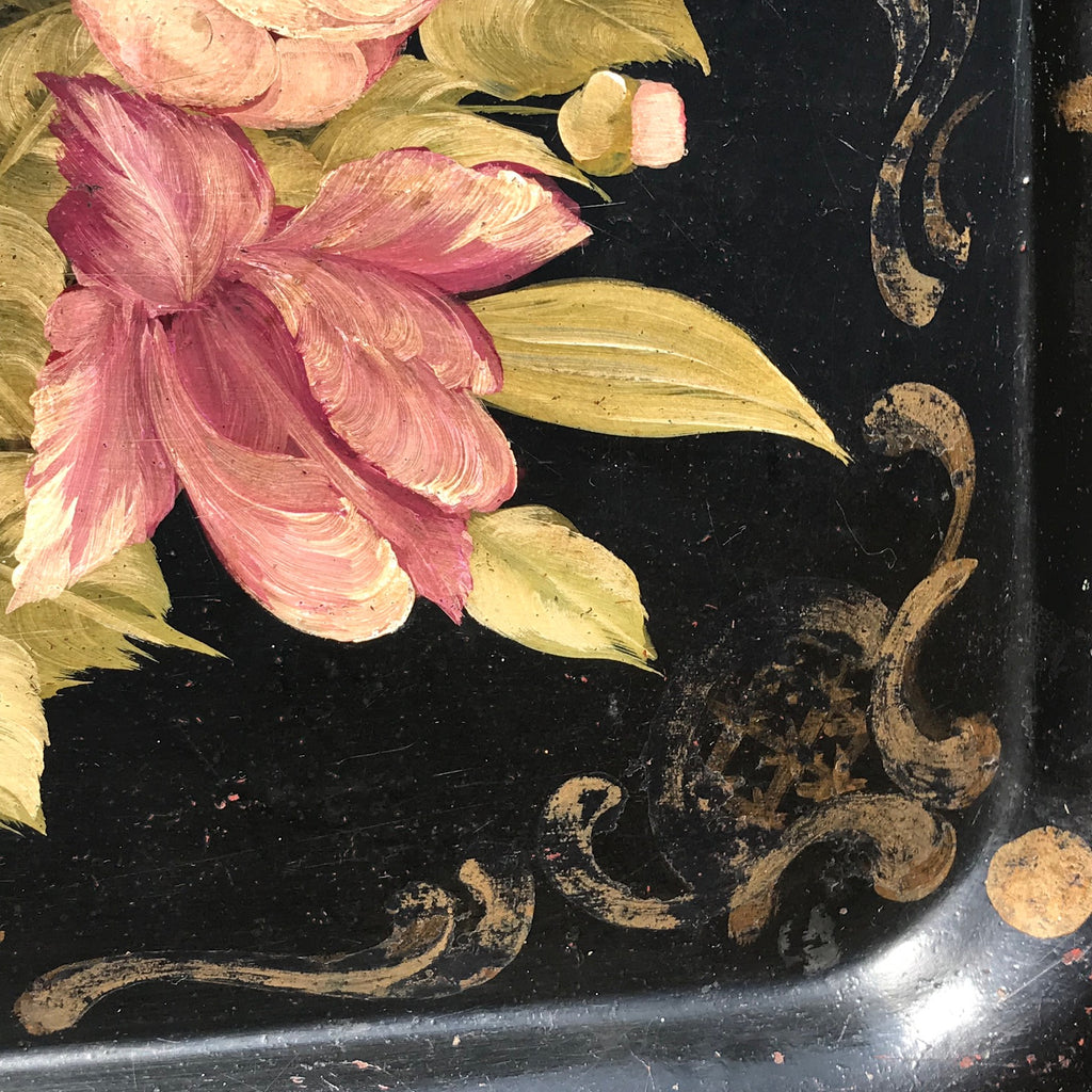 19th Century Rose Painted Toleware Tray - Detail View - 5