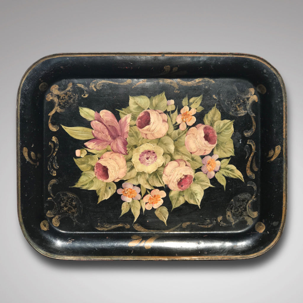 19th Century Rose Painted Toleware Tray - Main View - 1