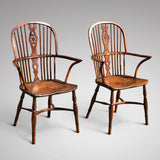 Pair of High Back Elm & Yew Windsor Armchairs - Main View - 2