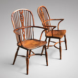 Pair of High Back Elm & Yew Windsor Armchairs - Main View - 1
