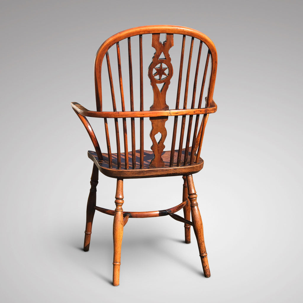 Pair of High Back Elm & Yew Windsor Armchairs - Back View - 3