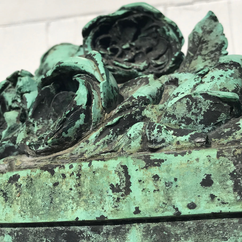 19th Century Bronze Sculpture of Vase of Roses - Detail View - 4