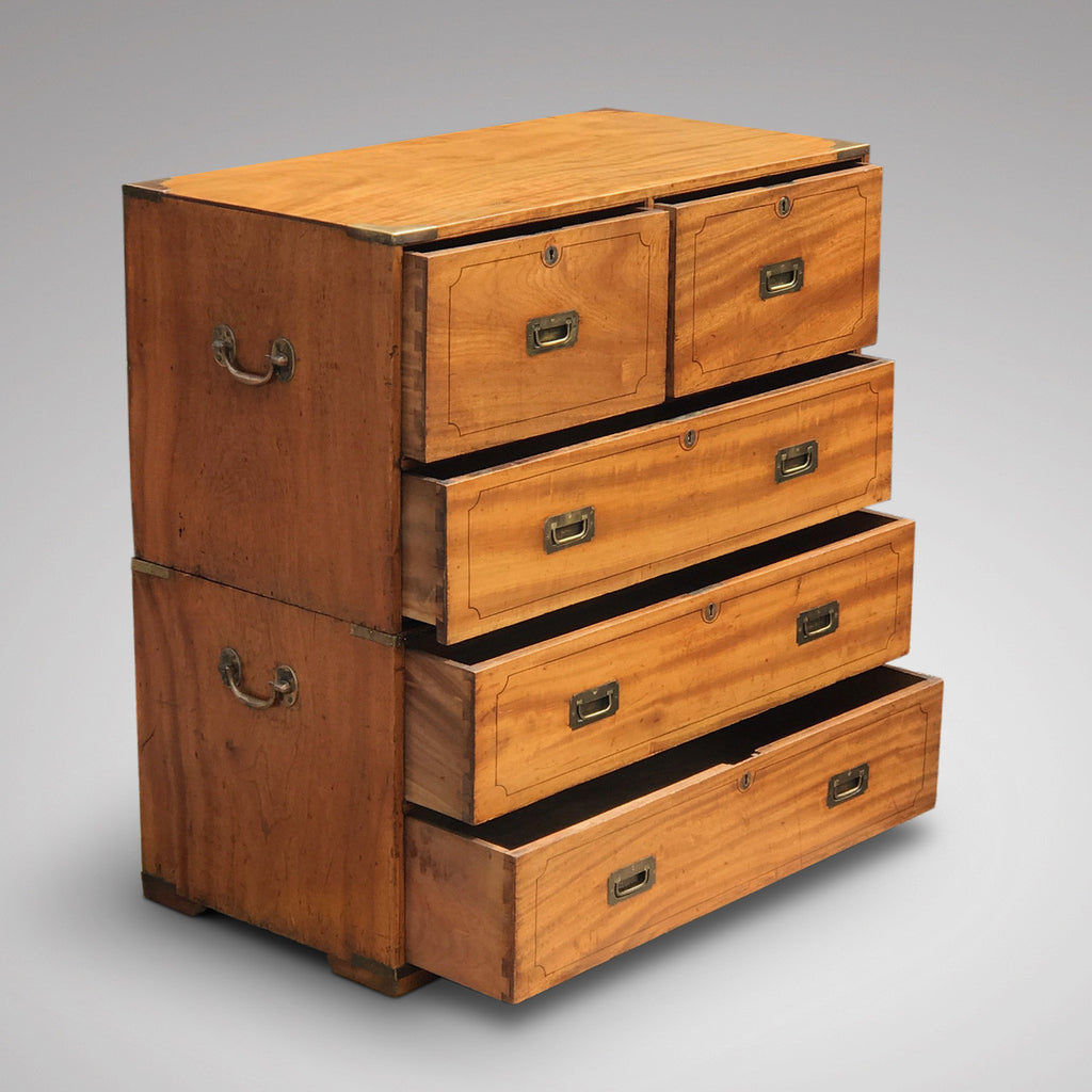 19th Century Camphor Wood Campaign Chest - Side & Drawer View - 3