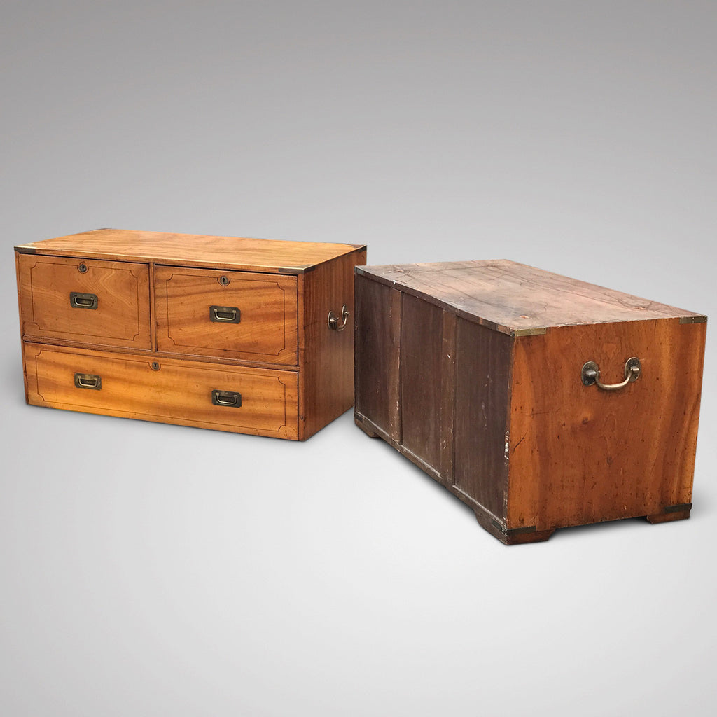 19th Century Camphor Wood Campaign Chest - View of Two Sections - 4