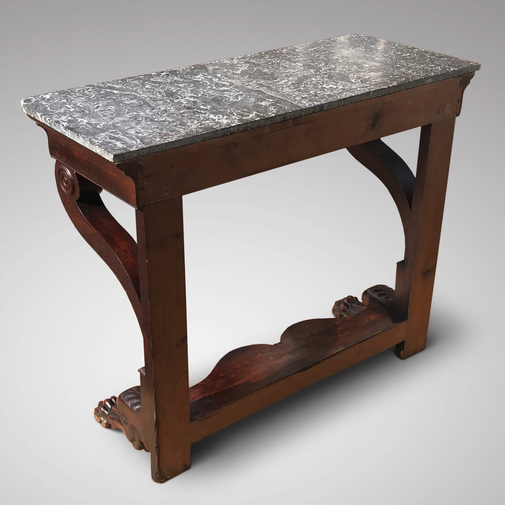 19th Century Mahogany Marble Topped Console Table - Back View - 2