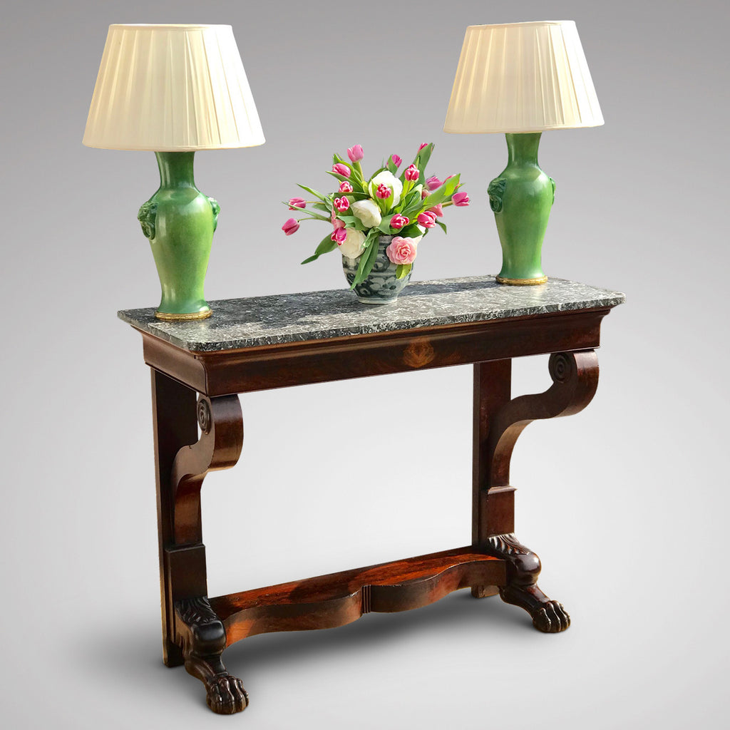 19th Century Mahogany Marble Topped Console Table - Main View - 1