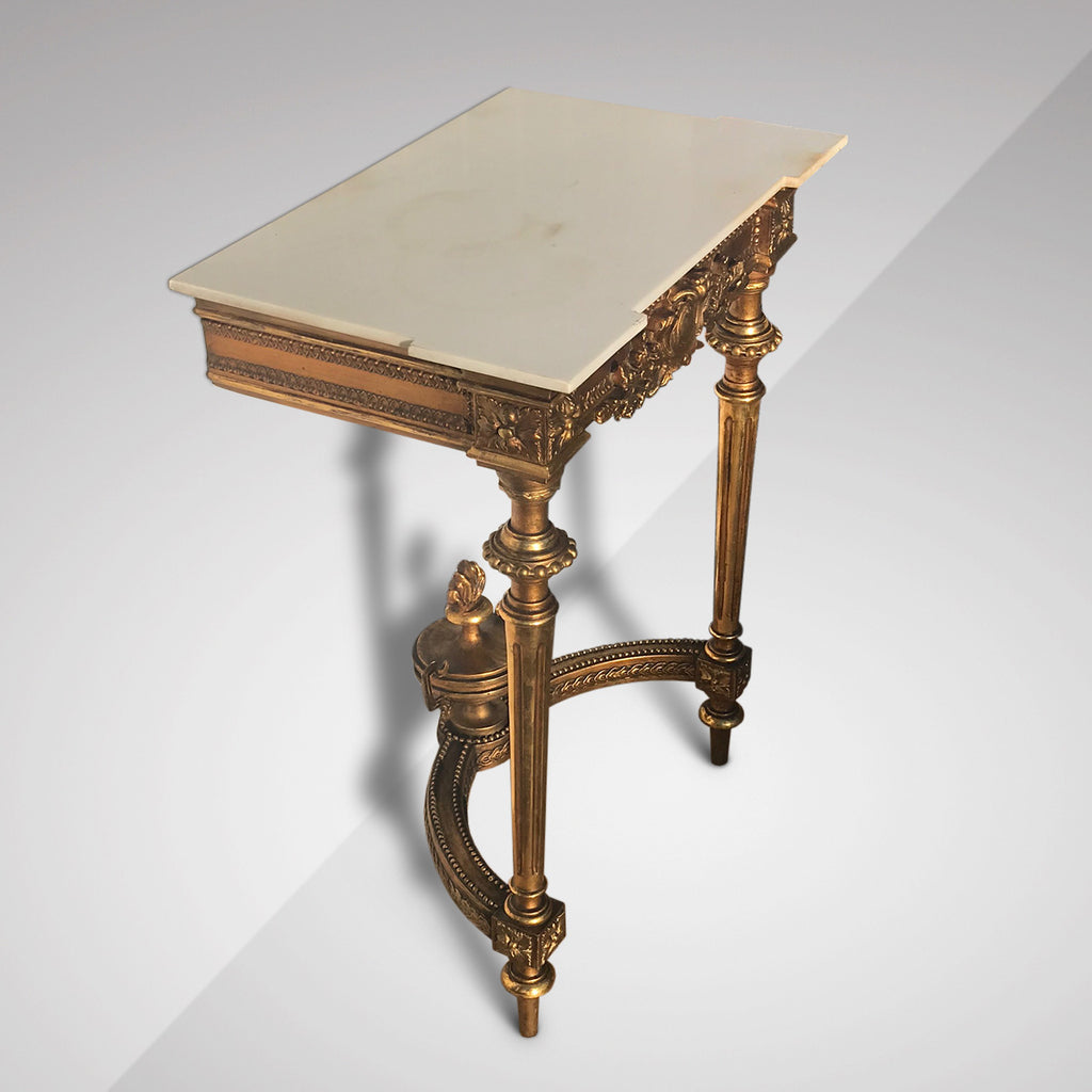 19th Century Giltwood Console with Marble Top - Side View - 3