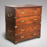 Small 19th Century Teak and Brass Two Part Campaign Chest - Main View - 1
