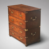 Small 19th Century Teak and Brass Two Part Campaign Chest - Main View - 3