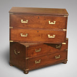 Small 19th Century Teak and Brass Two Part Campaign Chest - Main View - 4