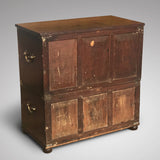 Small 19th Century Teak and Brass Two Part Campaign Chest - Back View - 5