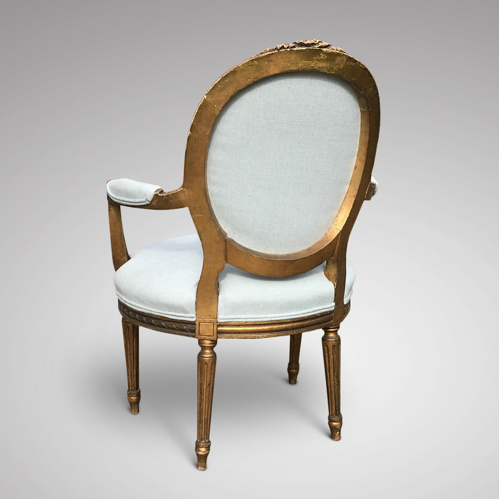 19th Century French Giltwood Armchair - Back & Side View - 3