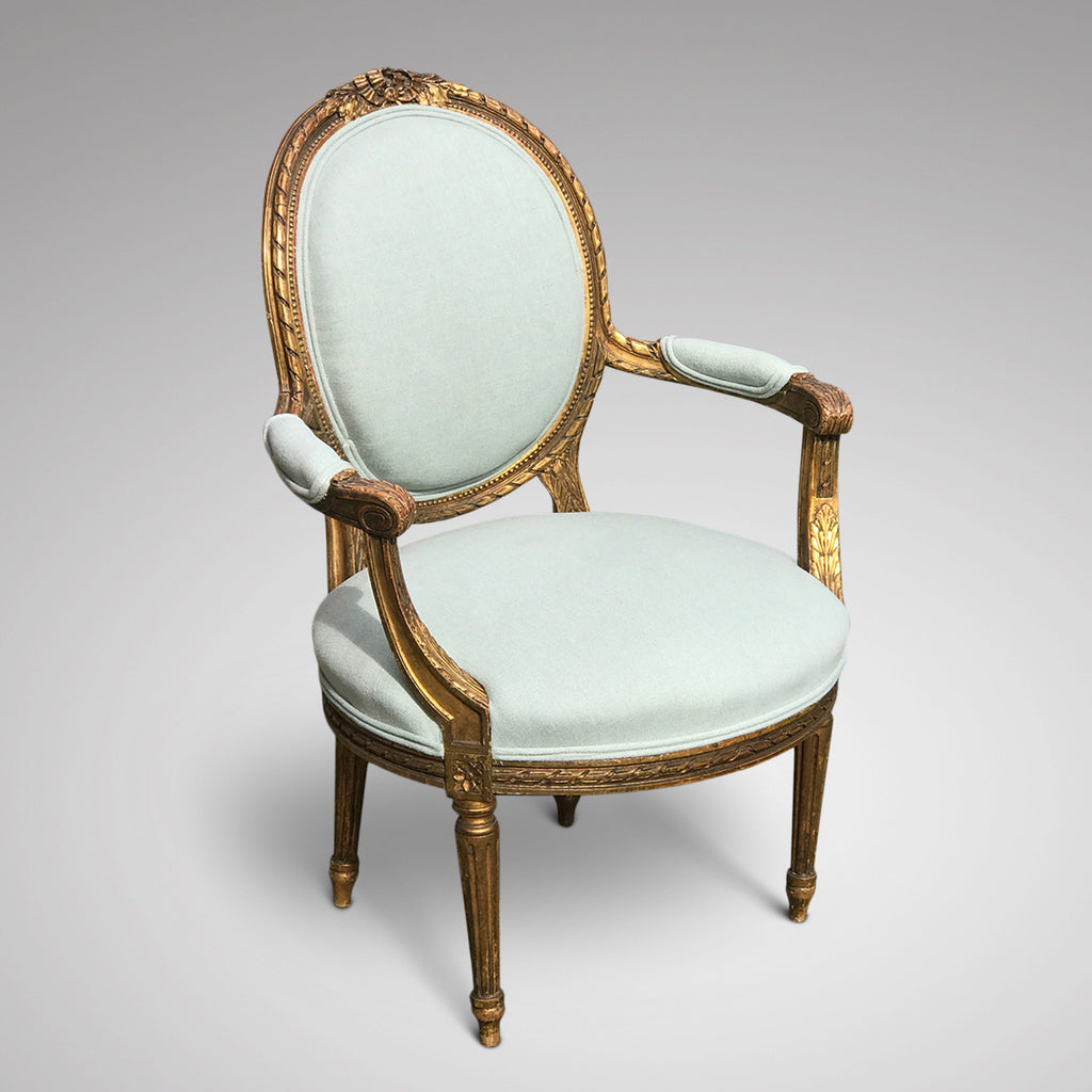 19th Century French Giltwood Armchair - Front & Side View - 2