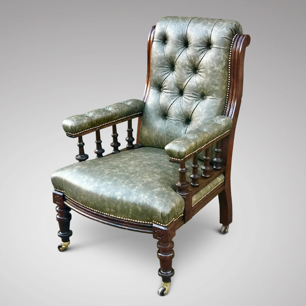 19th Century Leather Library Chair - Main View - 1