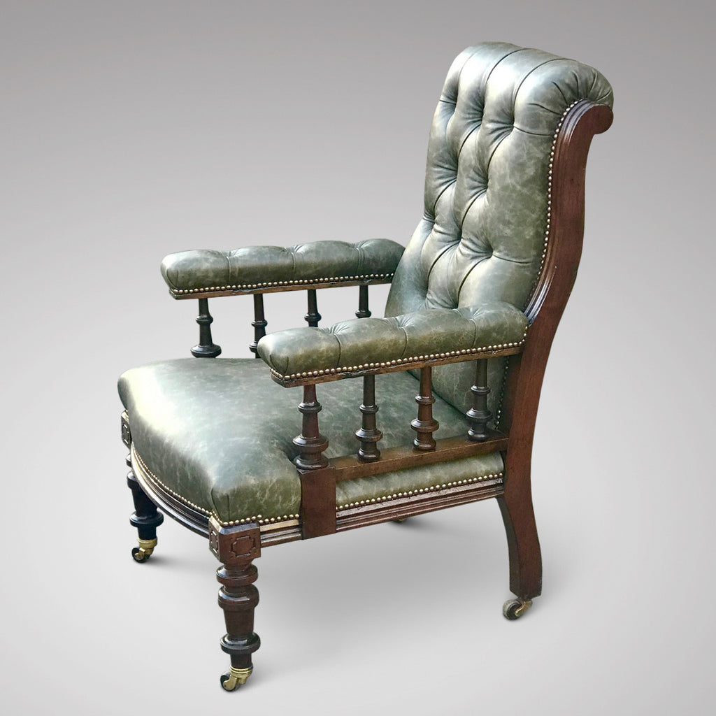 19th Century Leather Library Chair - Main View - 2