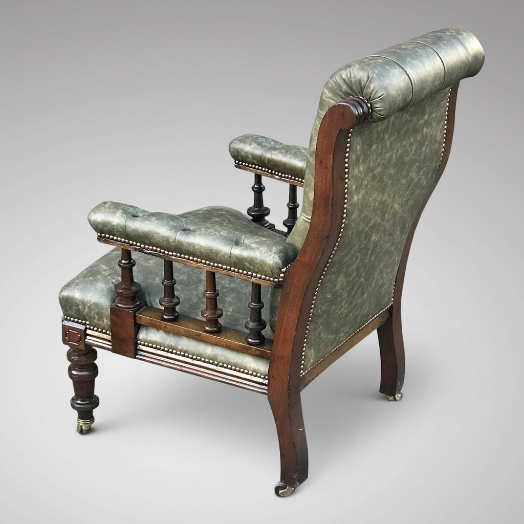 19th Century Leather Library Chair - Main View - 3