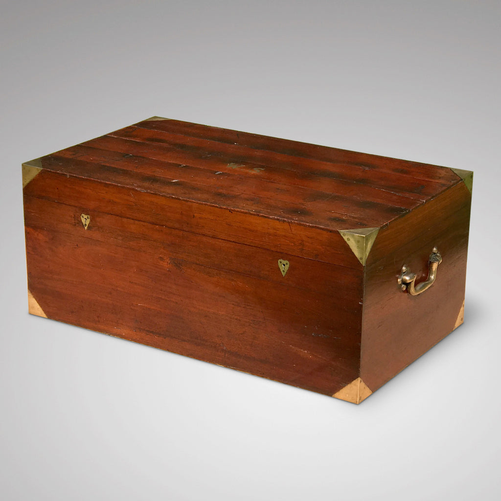 19th Century Padouk Campaign Trunk - Front & Side View - 1